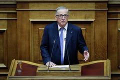Voorzitter van de Europese Commissie het bezoek Greec van Jean-Claude Juncker Stock Afbeeldingen