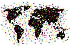 Voos da linha aérea do mapa do mundo Imagens de Stock Royalty Free