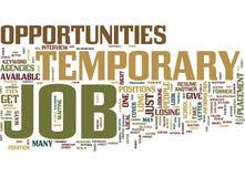 Vorübergehendes Job Opportunities Text Background Word-Wolken-Konzept stock abbildung