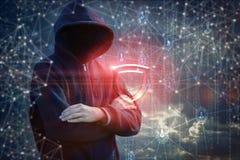 Vor dem Angreifer wird elektronischer Schutz angezeigt lizenzfreies stockbild
