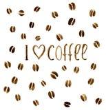 Vor dem hintergrund der Kaffeebohnen das inscriptio Stockfoto