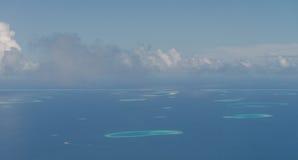 Vor der Landung von Meeru-Insel, Malediven Ansichten von der Luft planen Stockfoto