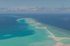 Vor der Landung von Meeru-Insel, Malediven Ansichten von der Luft planen Stockbild