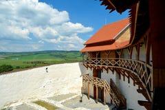 Vor Feldioara-Festung wurde 900 Jahren von den teutonic Rittern im Dorf Feldioara, Marienburg, Rumänien errichtet lizenzfreies stockfoto