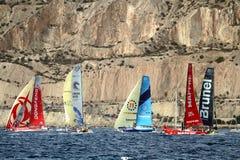 A part of VOR fleet sailing after start Leg 1 Alicante-Lisbon Royalty Free Stock Photography