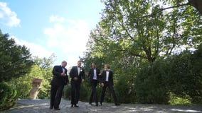 Vor-Hochzeitsweg Hübscher Bräutigam spricht aktiv mit seinen glücklichen drei besten Männern beim Gehen entlang den Garten langsa stock video footage