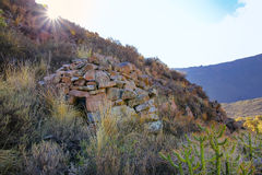 Vor-Inkarundes Haus nannte colca nahe Chivay in Peru Lizenzfreie Stockfotografie