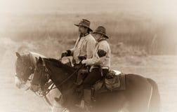 Vor-Kampf Gespräch zu Pferd stockfoto
