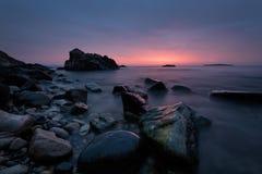 Vor Sonnenaufgang an Burgas-Bucht stockfotos