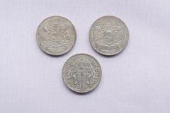 Vor thailändische Währungsmünzen sind verwendeten hundert Jahren gewesen stockfotografie