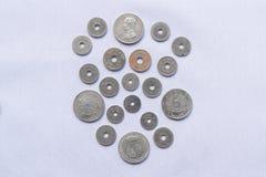 Vor thailändische Währungsmünzen sind verwendeten hundert Jahren gewesen stockbilder