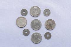 Vor thailändische Währungsmünzen sind verwendeten hundert Jahren gewesen lizenzfreie stockfotografie