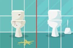Vor und nach dem S?ubern Schmutzige und saubere Toilettenzusammensetzung, die vorher zwei Toilettensch?sseln darstellt, nachdem T vektor abbildung