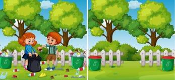 Vor und nach den Kindern, die Park säubern vektor abbildung