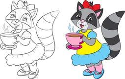 Vor und nach Illustration eines netten Mädchenwaschbären, des trinkenden Tees, in Schwarzweiss und in der Farbe, für Malbuch lizenzfreie stockbilder