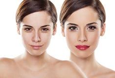 Vor und nach Make-up stockbilder