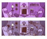 Vor und nach Reinigung Karikatur, die Raum in Victorianschweinestall lässt stock abbildung