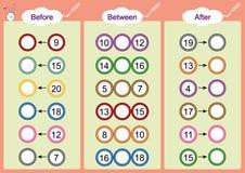 Vor-zwischen was und nach kommt, Mathearbeitsblätter für Kinder Stockbild