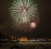 2015 Vorabendfeuerwerke des neuen Jahres Stockfoto