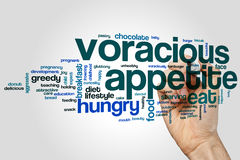 Voracious appetite word cloud. Concept on grey background Stock Photos