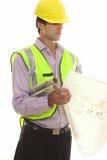 Vorarbeiter mit Site-Plänen Stockfoto