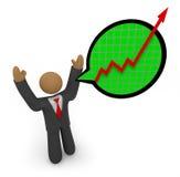 Voraussagenwachstum - Geschäftsmann-Sprache-Luftblase Lizenzfreie Stockbilder