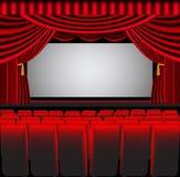 Voraussetzungtheater mit Bildschirm und Stuhl Lizenzfreie Stockbilder