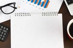 Vorbereiten des Berichts Blaue Diagramme und Diagramme Geschäftsberichte und p lizenzfreies stockbild