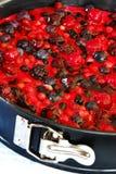 Vorbereiten des Fruchtkuchens in der Form stockbilder