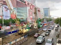 Vorbereiten, einen elektrischen Zug in Thailand zu bauen lizenzfreie stockbilder