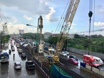 Vorbereiten, einen elektrischen Zug in Thailand zu bauen lizenzfreies stockfoto