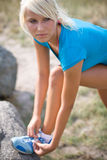 Vorbereiten für den folgenden Lack-Läufer Stockfotos