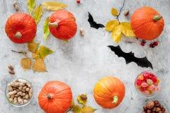 Vorbereiten für Halloween Kürbise und Papier schlägt auf grauem copyspace Draufsicht des Hintergrundes Stockfotografie