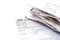 Vorbereiten von Steuern Stockfotografie