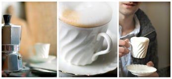 Vorbereitender und trinkender Morgenkaffee Lizenzfreies Stockfoto