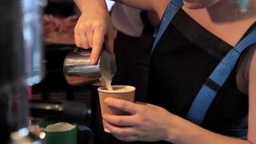 Vorbereitung Barista Cafe Making Coffee stock footage