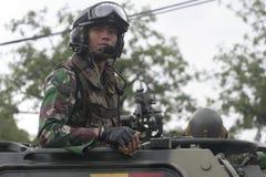 Vorbereitung der indonesischen nationalen Armee in der Stadt des Solos, zentraler Java Security Lizenzfreie Stockfotos