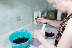 Vorbereitung des Kuchens mit Kirschen und Himbeeren. Lizenzfreie Stockbilder