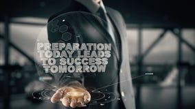 Vorbereitung führt heute zu Erfolg morgen mit Hologrammgeschäftsmannkonzept lizenzfreies stockbild