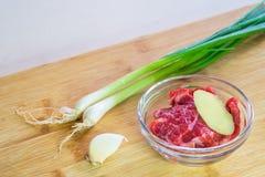 Vorbereitung für das orientalische Rindfleisch-Kochen Lizenzfreies Stockbild