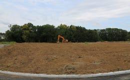 Vorbereitung für den Bau von neuen Häusern stockbild