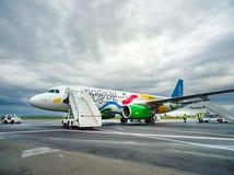 Vorbereitung für die Passagiere, die draußen von einem Handelsjet-Flugzeug ausschiffen lizenzfreies stockfoto