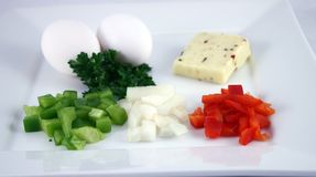 Vorbereitung für ein Omelett stockfoto