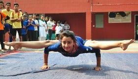 Vorbereitung für internationalen Yoga-Tag stockbild