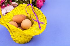 Vorbereitung für Ostern Gelber Korb mit Hühnereien auf violettem Hintergrund Stockfotos