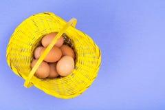 Vorbereitung für Ostern Gelber Korb mit Hühnereien auf violettem Hintergrund Lizenzfreie Stockfotografie
