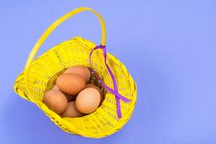 Vorbereitung für Ostern Gelber Korb mit Hühnereien auf violettem Hintergrund Stockbild