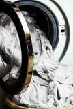 Vorbereitung für Waschmaschine Stockfoto