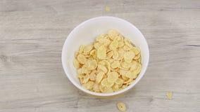 Vorbereitung von Frühstückskost aus Getreide mit Milch in einer Schüssel auf einem Holztisch Beschneidungspfad eingeschlossen stock video footage
