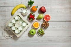 Vorbereitungen für die Herstellung des Joghurts und der Bestandteile Lizenzfreies Stockfoto